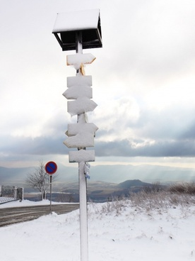 signpost in winter