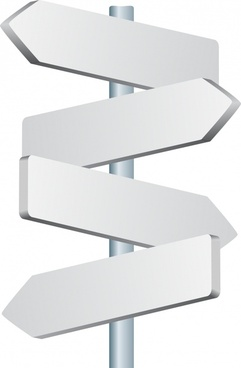 signpost templates 3d white blank sketch