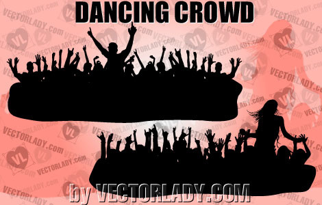 silhouette of dancing crowd