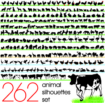 silhouettes of animals design vector