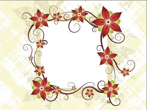 red flowers frame vector illustration