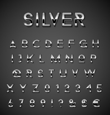 silver alphabet with numbers and symool vector