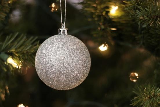 silver ball ornament on christmas tree