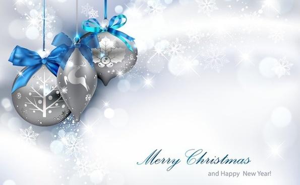 christmas background baubles snowflakes decor vivid silver color