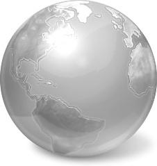 Silver globe earth