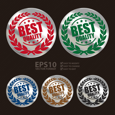 silver laurel wreath badges vectors