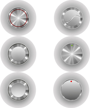 silver metal player button vector