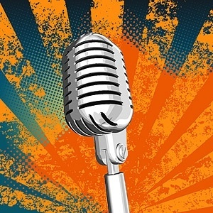 silver metallic microphone vector