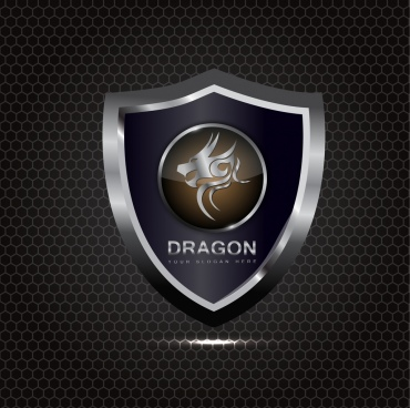 silver shield icon shiny decoration dragon design