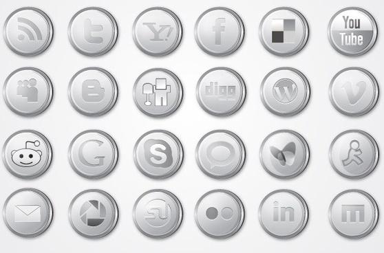 Silver Social Media Icon Pack