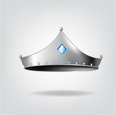 Silver tiara with blue gem