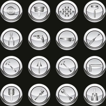 silver tools icons vector set