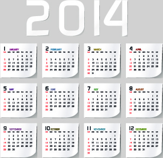 simple14 calendar design vector set