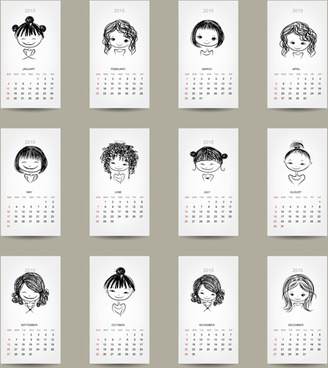simple15 calendar cards vector graphics