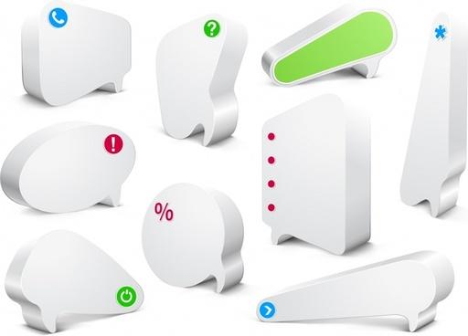 text box templates modern 3d speech bubble shapes