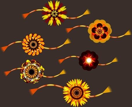 simple and beautiful hindu rakhi collection design vector