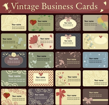business cards templates elegant dark colored retro decor