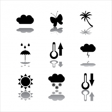 natural icons collection flat black sketch reflection decor