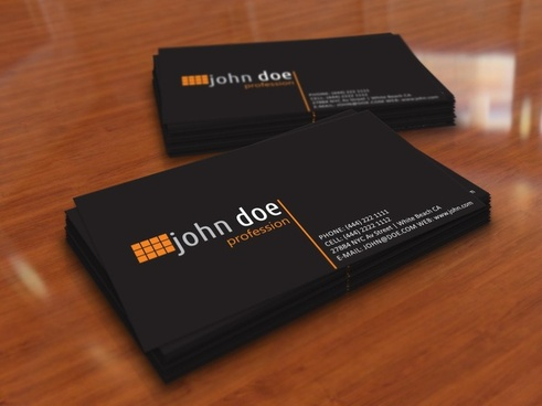 simple black personal business card template
