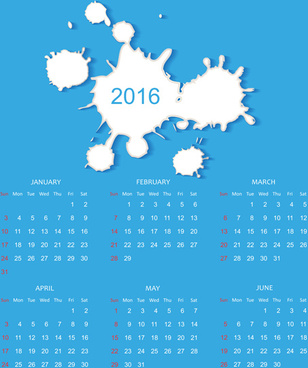 simple blue calendar16 vector