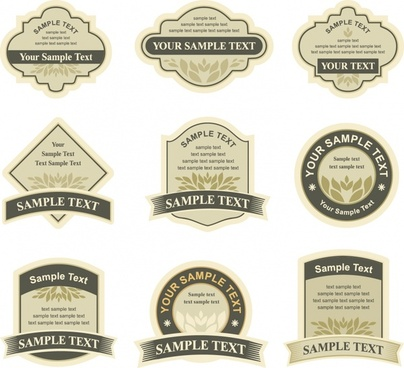 label templates classical flat shapes decor