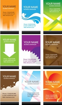 name card templates colored flat decor vertical design