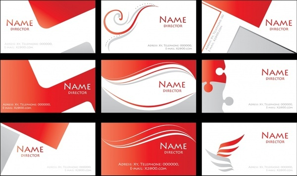 name card templates modern red white abstract decor