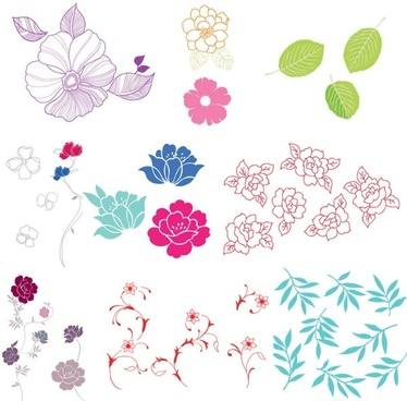 simple case of a variety of flowers leaves vector