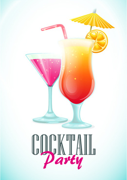 simple cocktails party poster vector