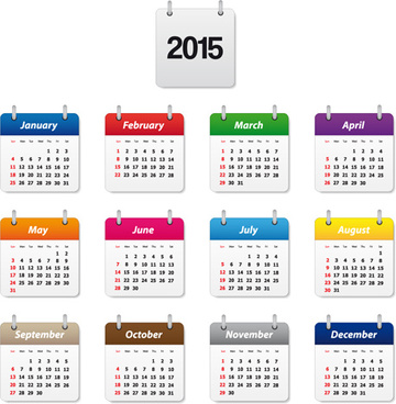 simple colored15 calendar vector graphic