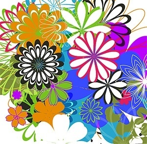 simple colorful flowers vector