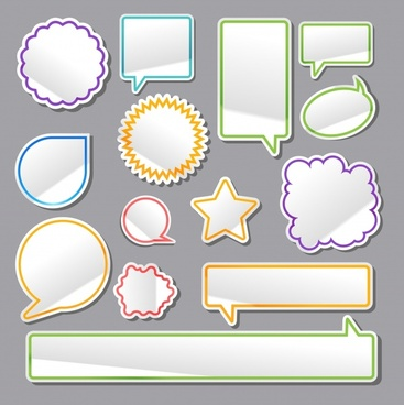 dialogue speech bubbles collection flat paper cut shapes