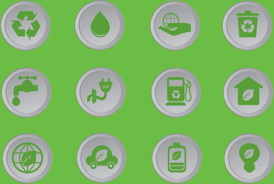 simple ecology icons set