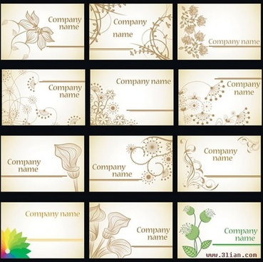 name card templates botanical petals sketch