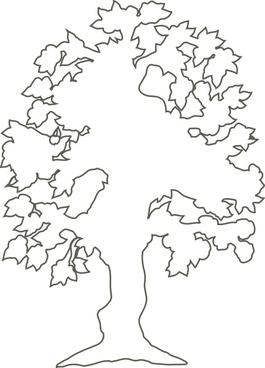 Simple Flowering Tree Outline clip art