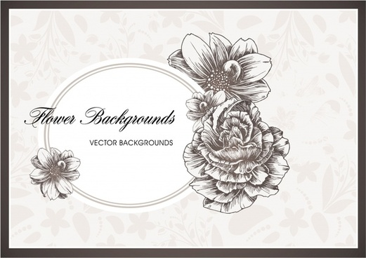 simple flowers background vector line art