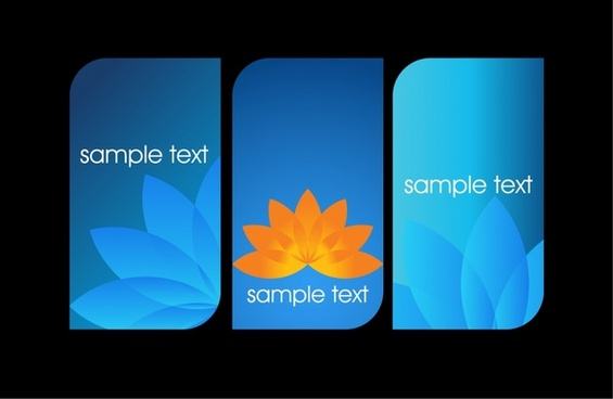 flowers cards templates lotus petals icon blue design