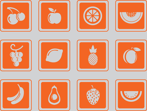 simple fruit icons set
