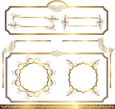 simple golden ornaments frames vector