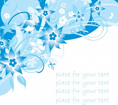 decorative floral background dynamic blue white decor