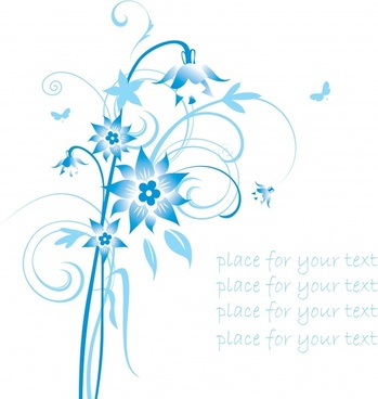 simple handpainted flowers and blue patterns vector