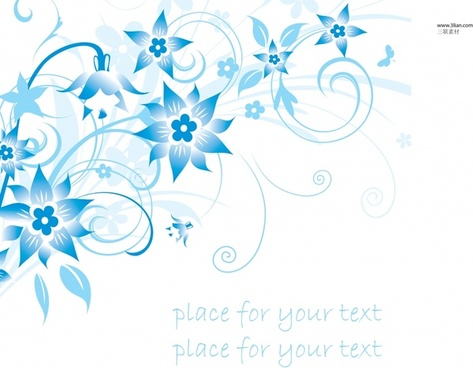 decorative background dynamic blue flora sketch