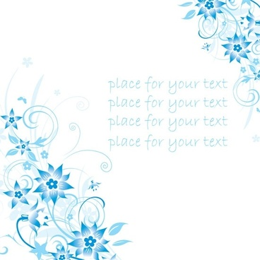 simple handpainted flowers and blue text background pattern vector 4