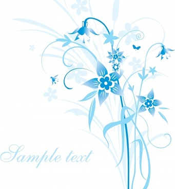 flowers background template elegant bright blue decor