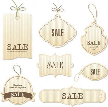 sales tags templates retro flat shapes design