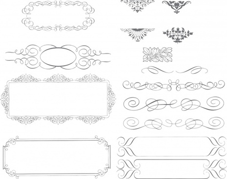 border design elements classical symmetrical seamless curves