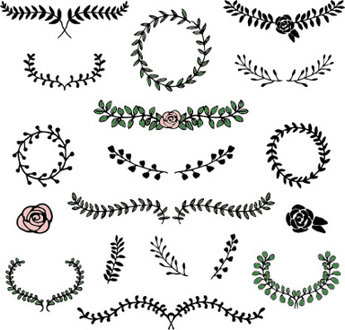 simple laurels frames ornament vector