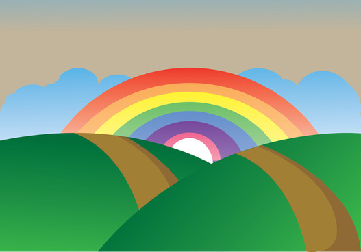 simple rainbow landscape