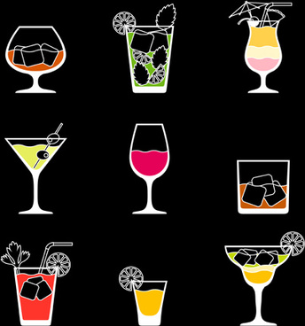 simple summer drink icons vectors