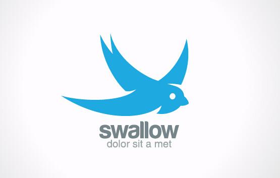 simple swallow logo design vector